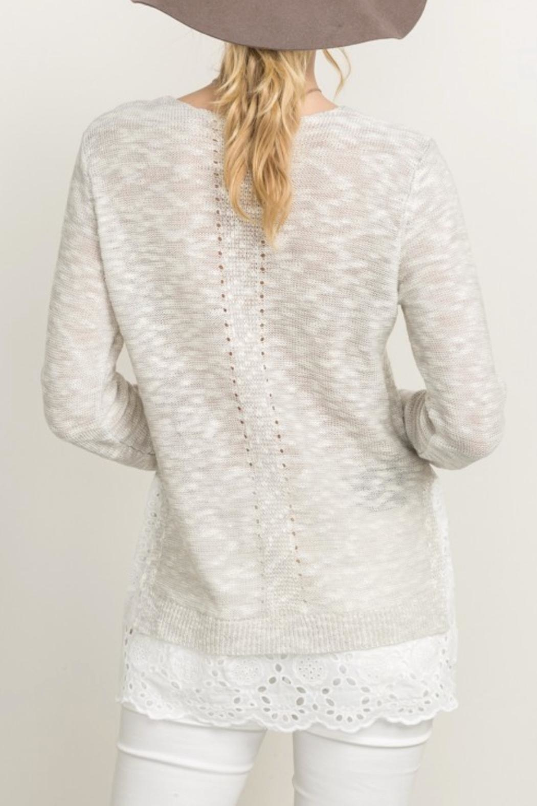 Mystree Eyelet Frill Sweater - Side Cropped Image