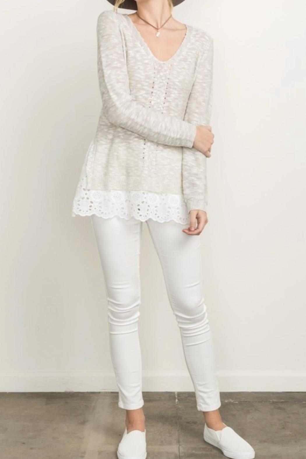 Mystree Eyelet Frill Sweater - Main Image