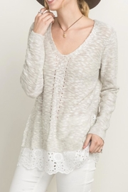 Mystree Eyelet Frill Sweater - Front full body