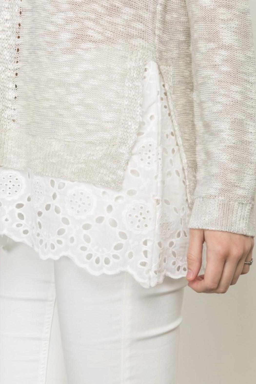 Mystree Eyelet Frill Sweater - Back Cropped Image