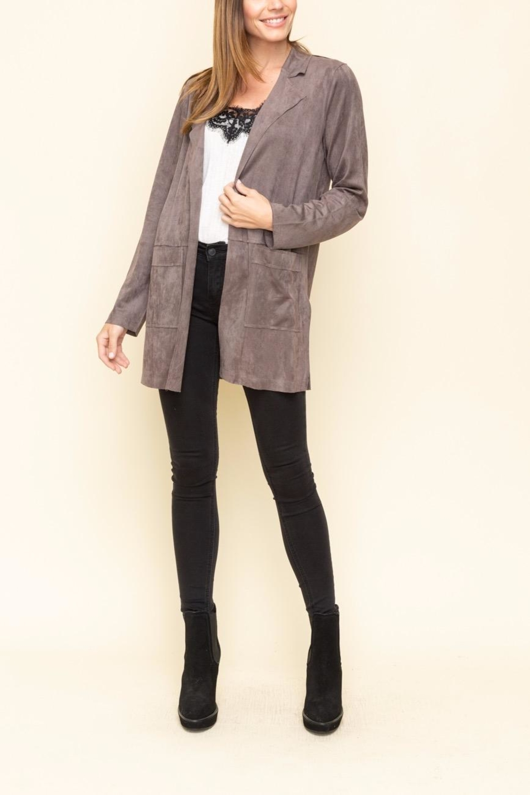 Mystree Faux Suede Jacket - Back Cropped Image