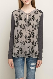 Mystree Flock Print Top - Front cropped