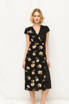 Mystree Floral and Polka Dot Wrap Dress - Product List Image