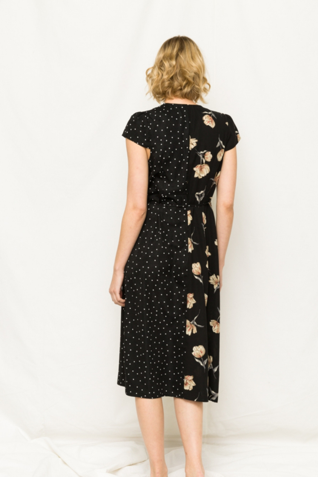 Mystree Floral and Polka Dot Wrap Dress - Front Full Image