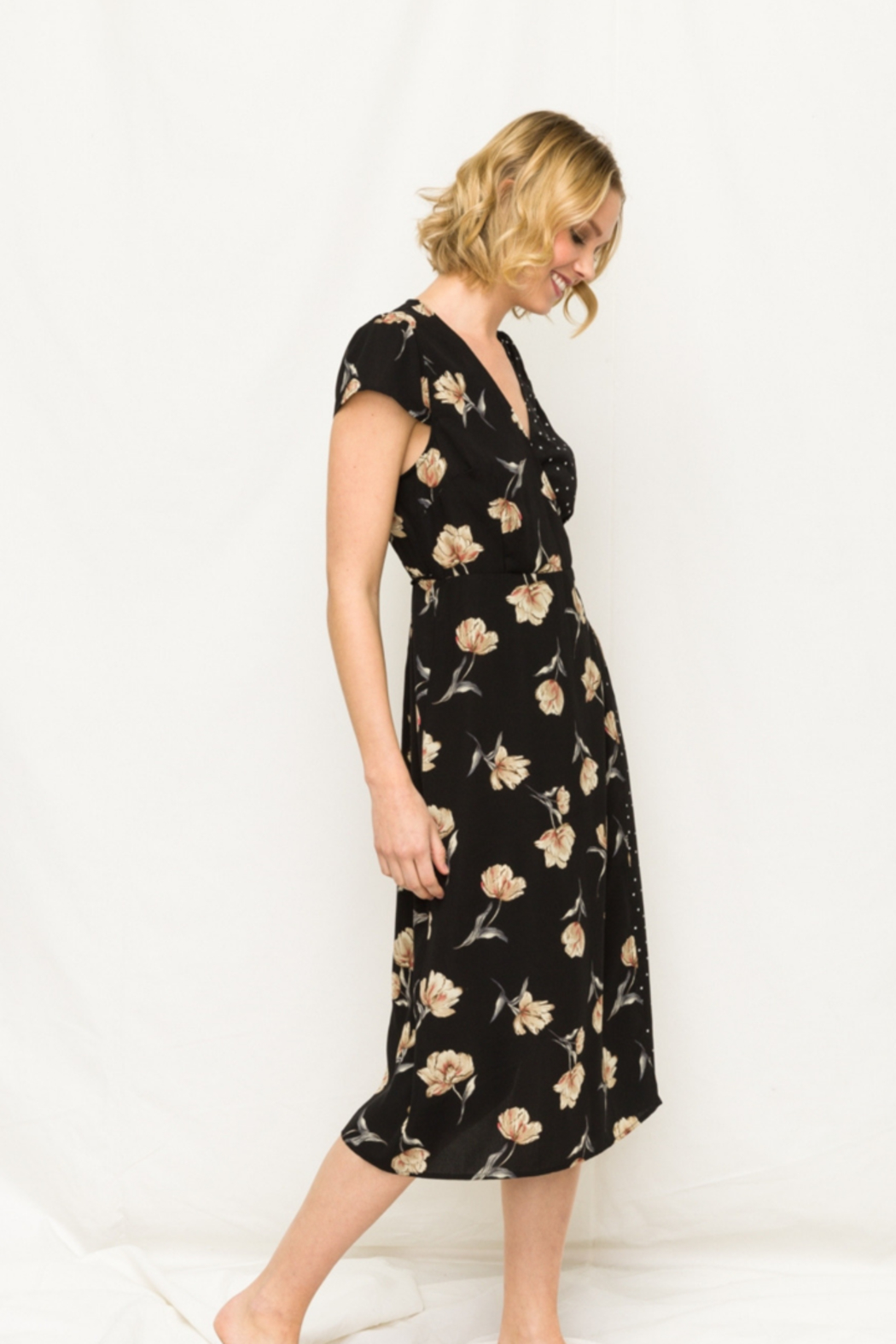 Mystree Floral and Polka Dot Wrap Dress - Side Cropped Image