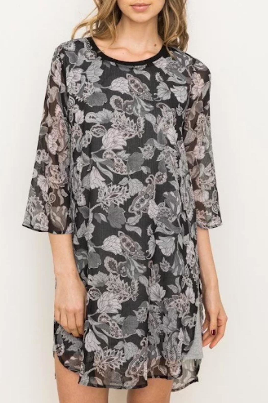 Mystree Floral Chiffon Dress - Front Cropped Image