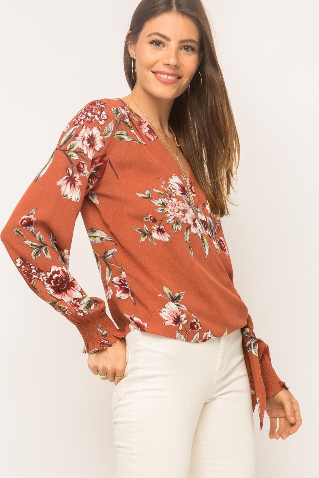 Mystree Floral Wrap Top - Front Full Image