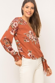 Mystree Floral Wrap Top - Front full body