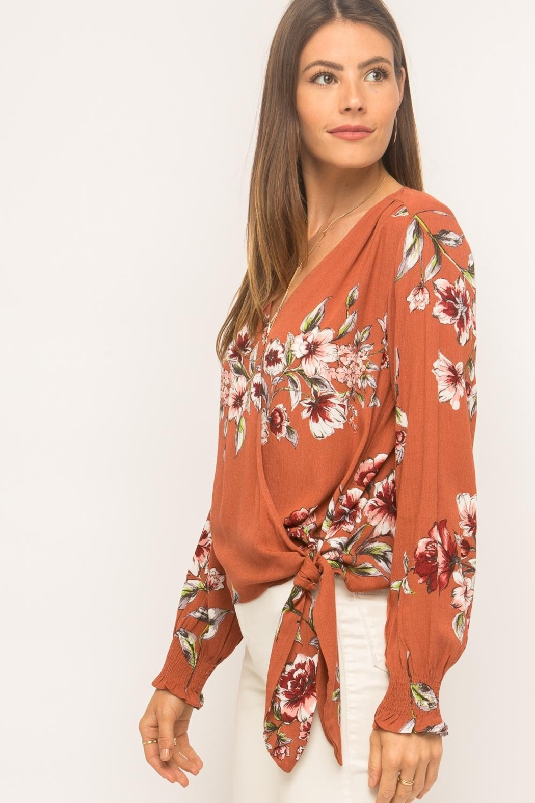 Mystree Floral Wrap Top - Side Cropped Image