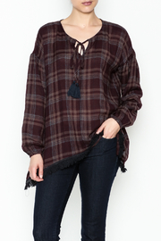 Mystree Fringe Plaid Tunic Top - Product Mini Image