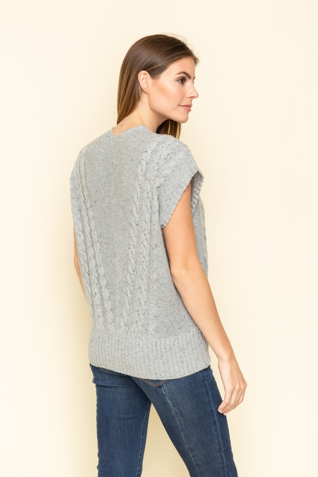 Mystree Front Wrap Style Sleeveless Sweater - Front Full Image