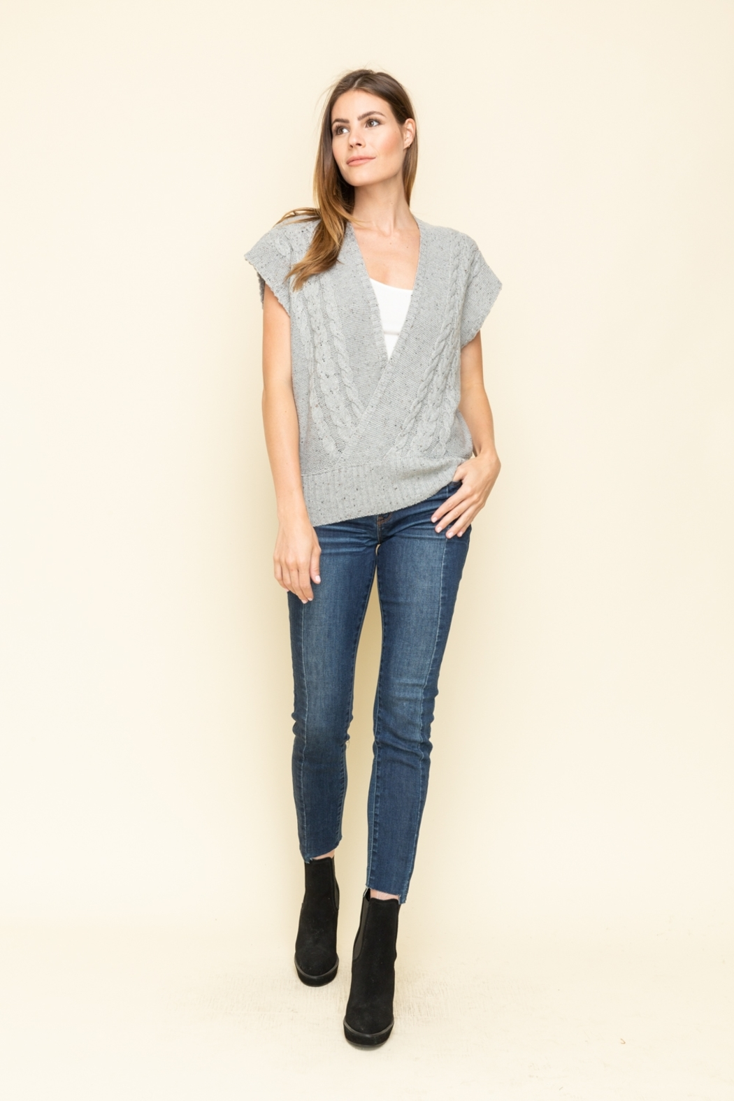 Mystree Front Wrap Style Sleeveless Sweater - Side Cropped Image