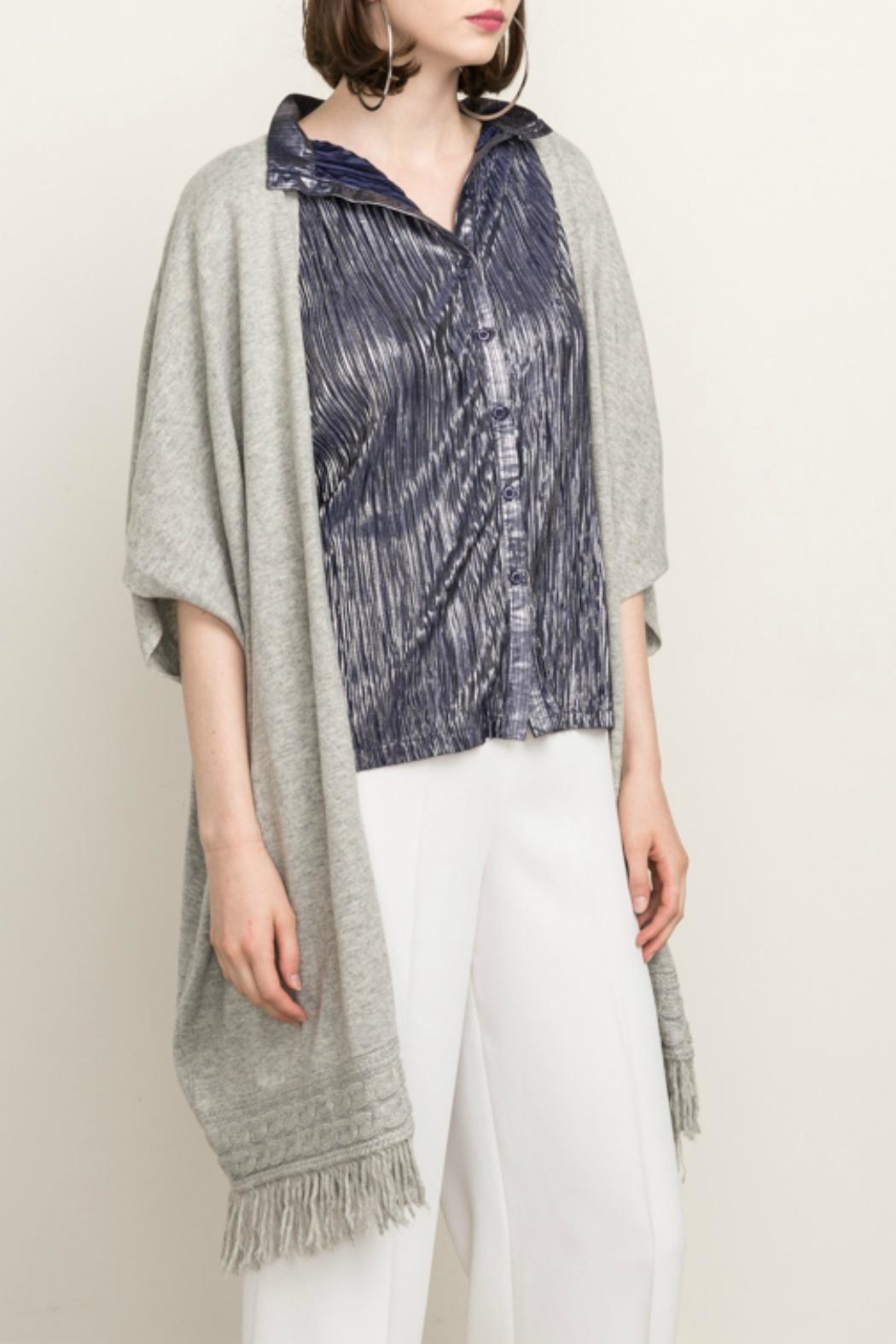 Mystree Grey Fringe Cardigan - Main Image