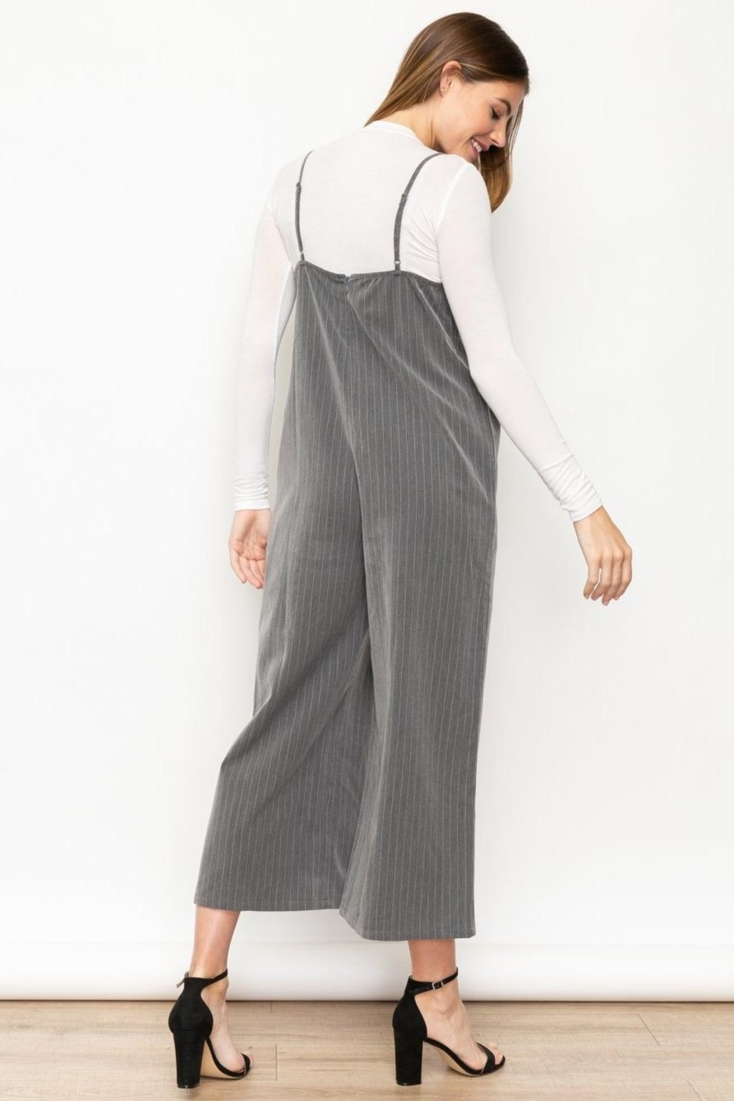 Mystree Grey Striped Jumpsuit - Front Full Image