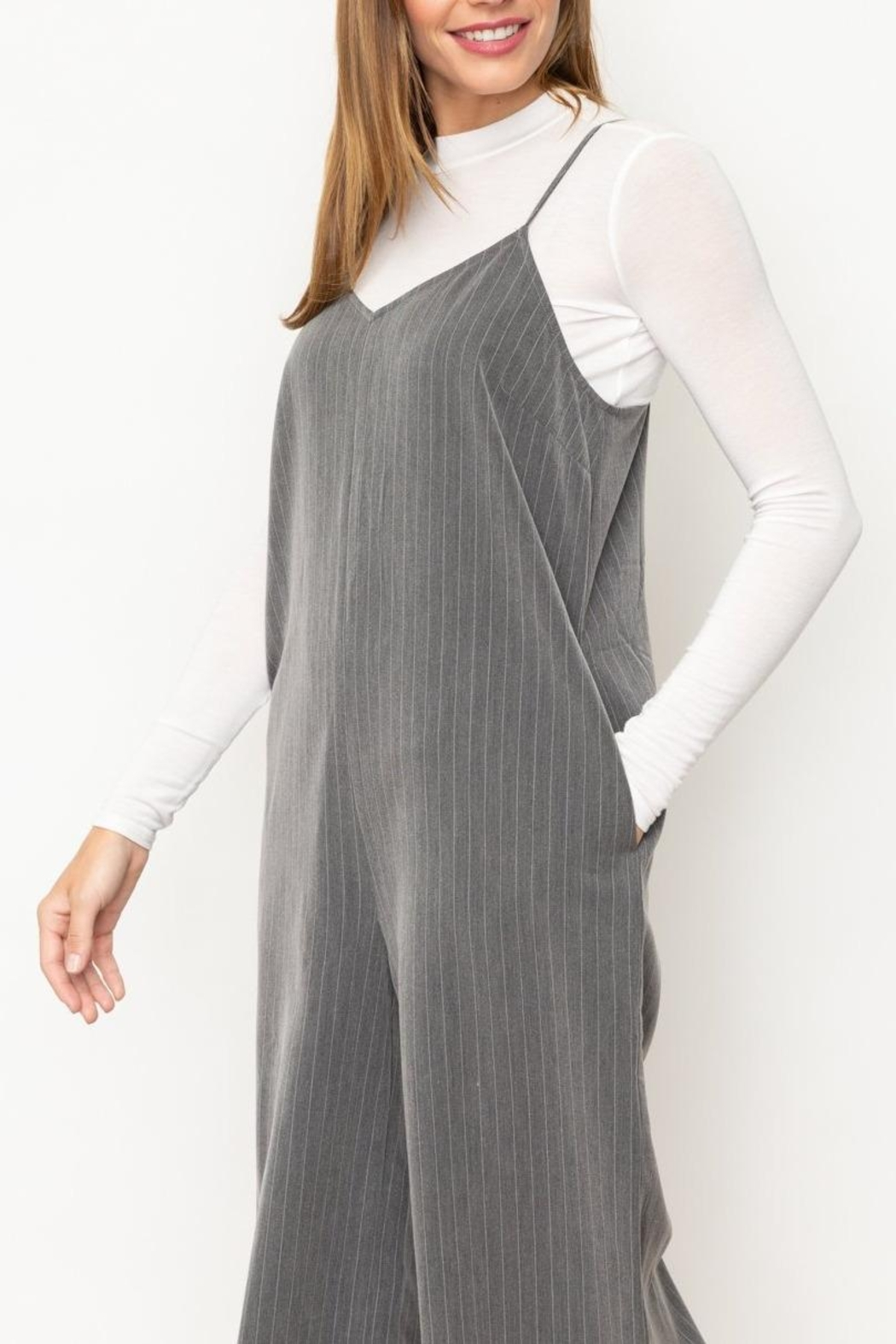 Mystree Grey Striped Jumpsuit - Side Cropped Image