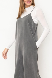 Mystree Grey Striped Jumpsuit - Side cropped