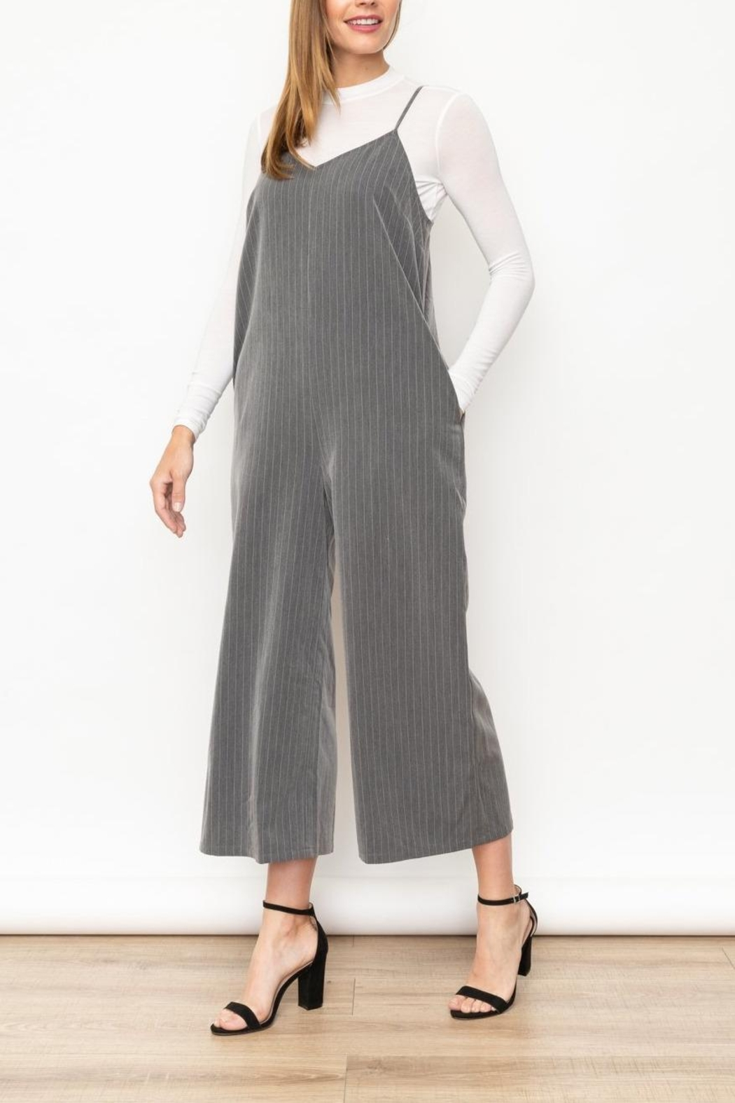Mystree Grey Striped Jumpsuit - Main Image