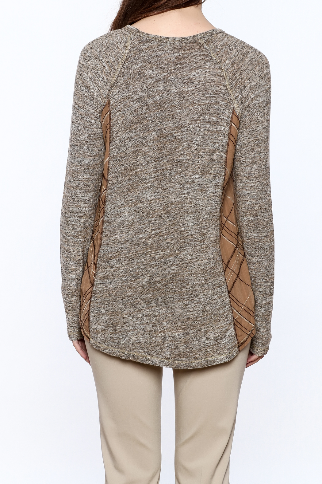 Mystree Grey Knit Top - Back Cropped Image