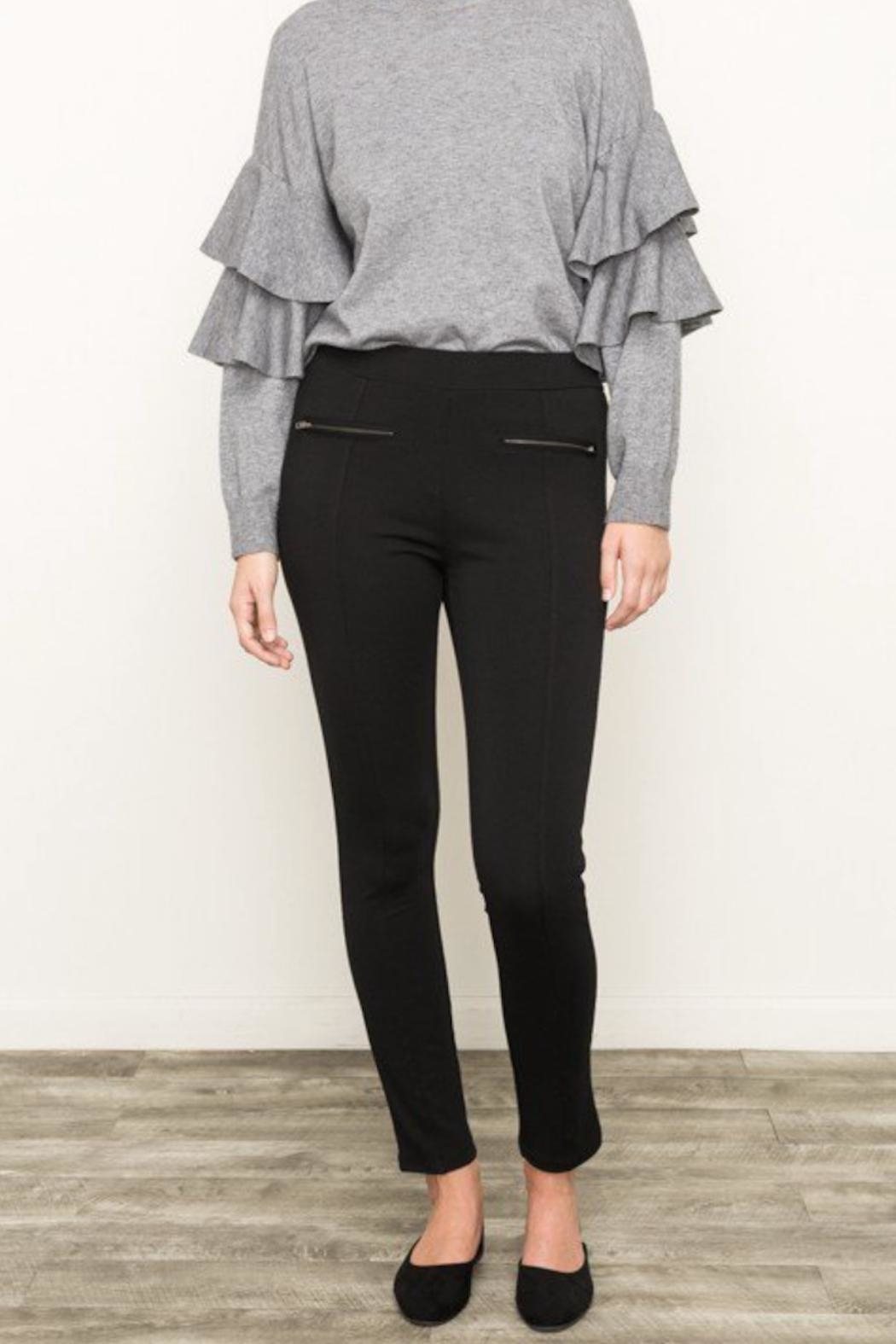Mystree Knit Zip Pants - Front Cropped Image