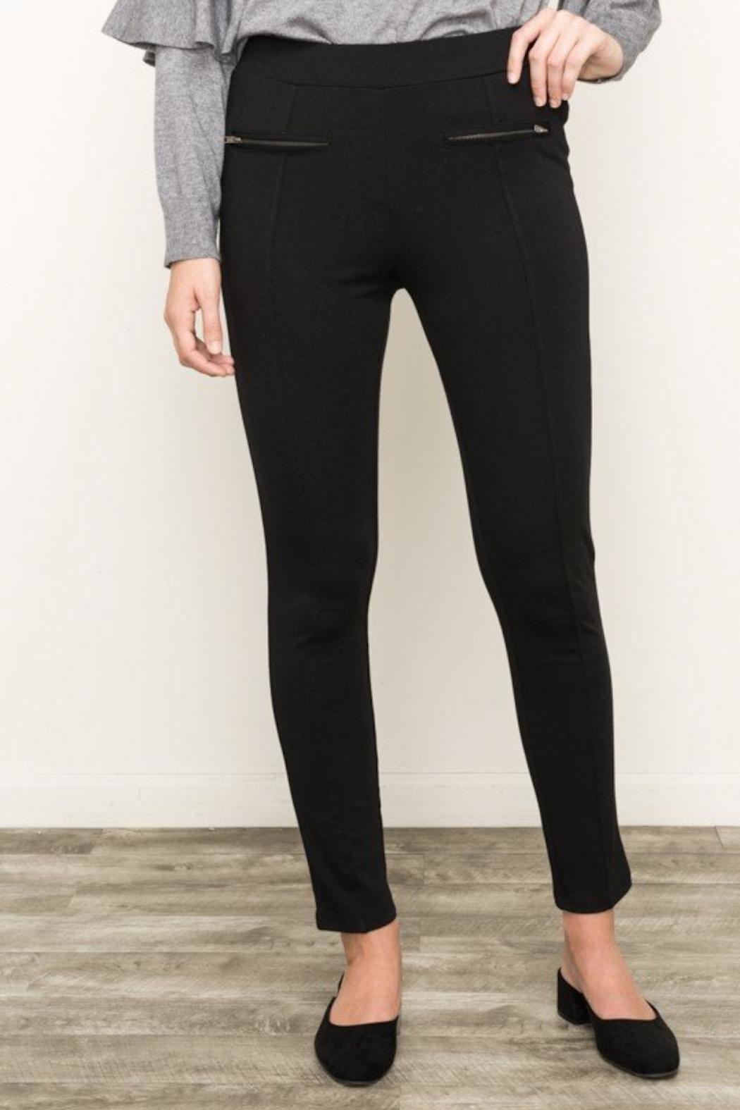 Mystree Knit Zip Pants - Side Cropped Image