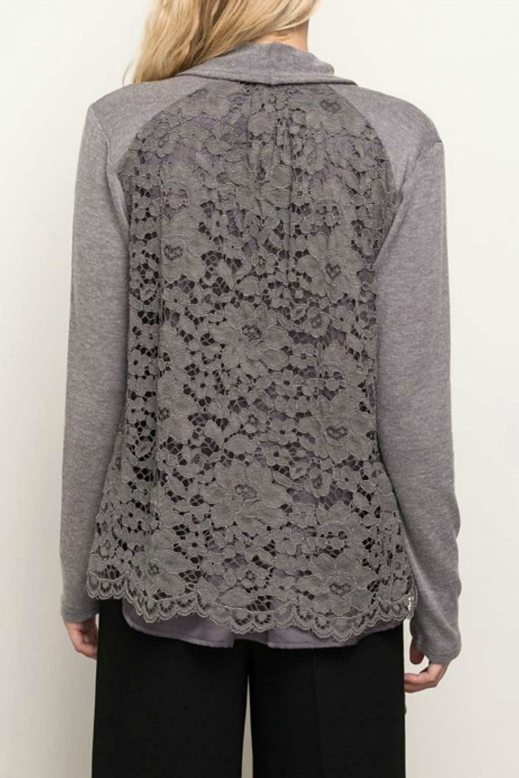 Mystree Lace Back Cardigan - Front Full Image