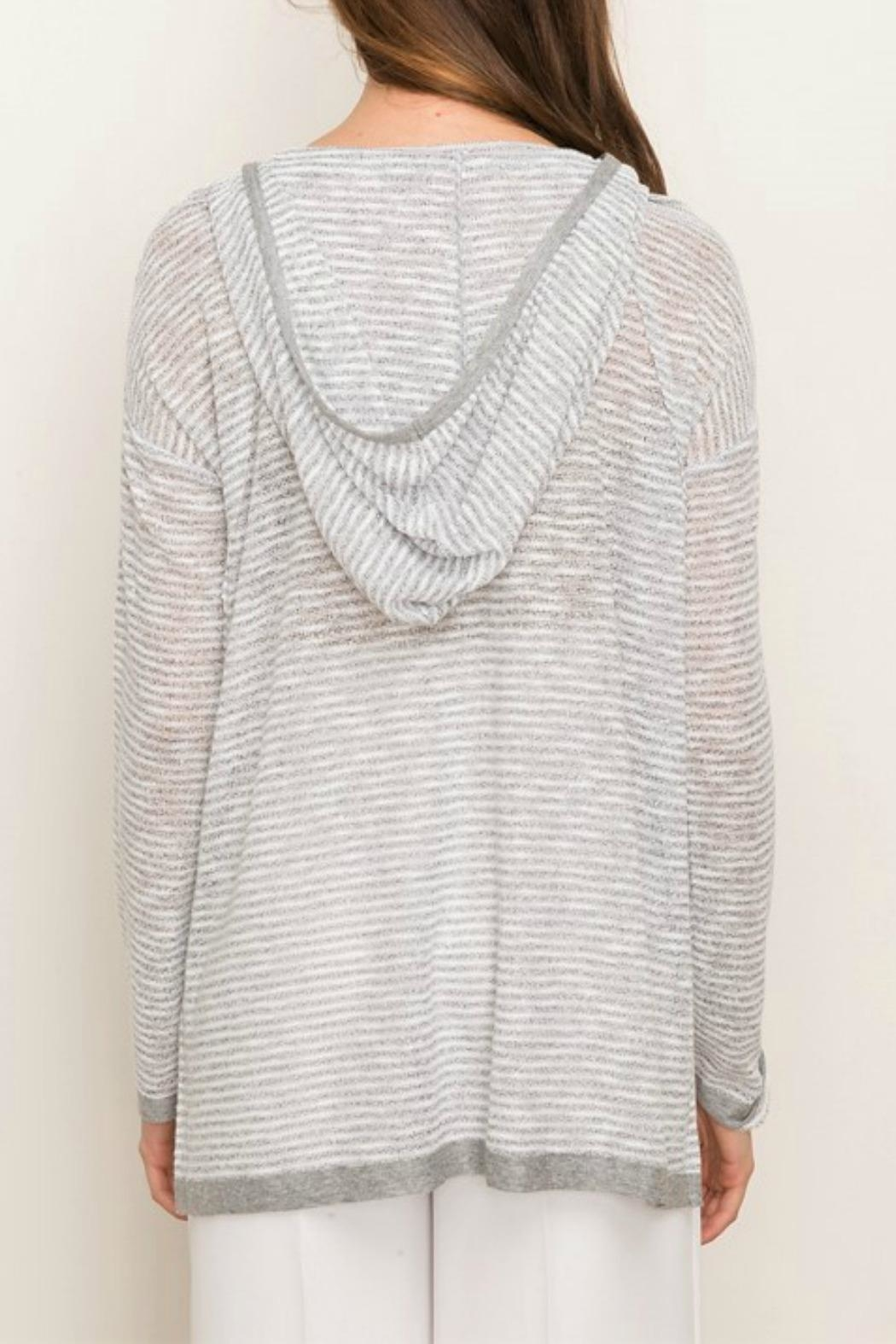 Mystree Lace-Up Hooded Pullover - Front Full Image