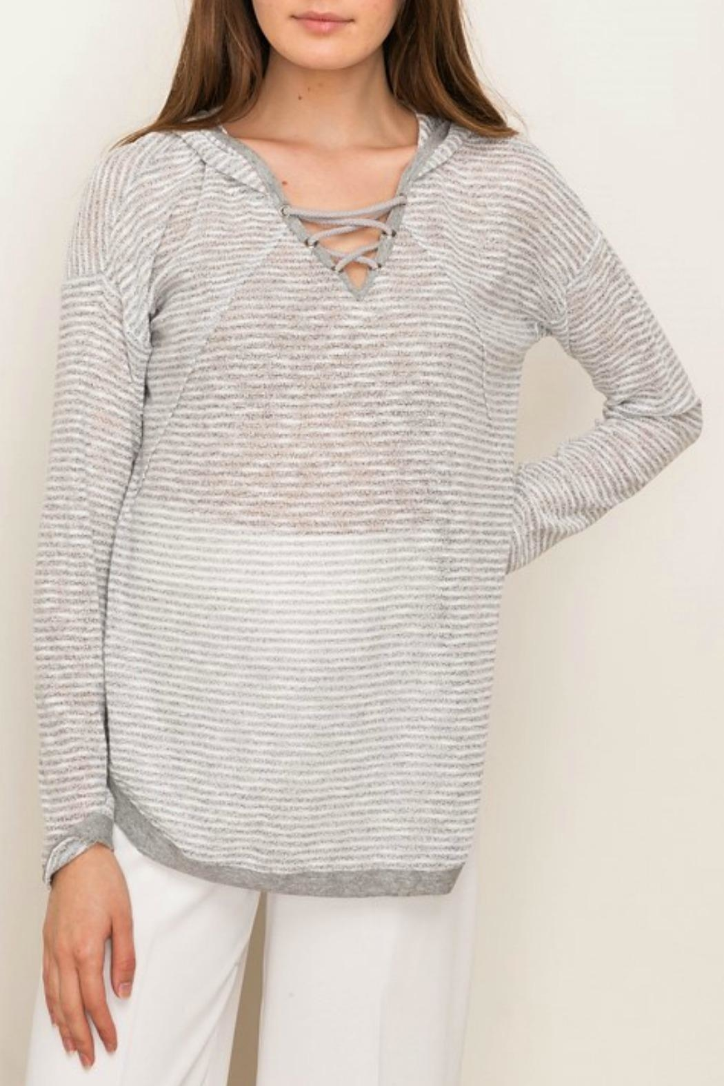 Mystree Lace-Up Hooded Pullover - Main Image