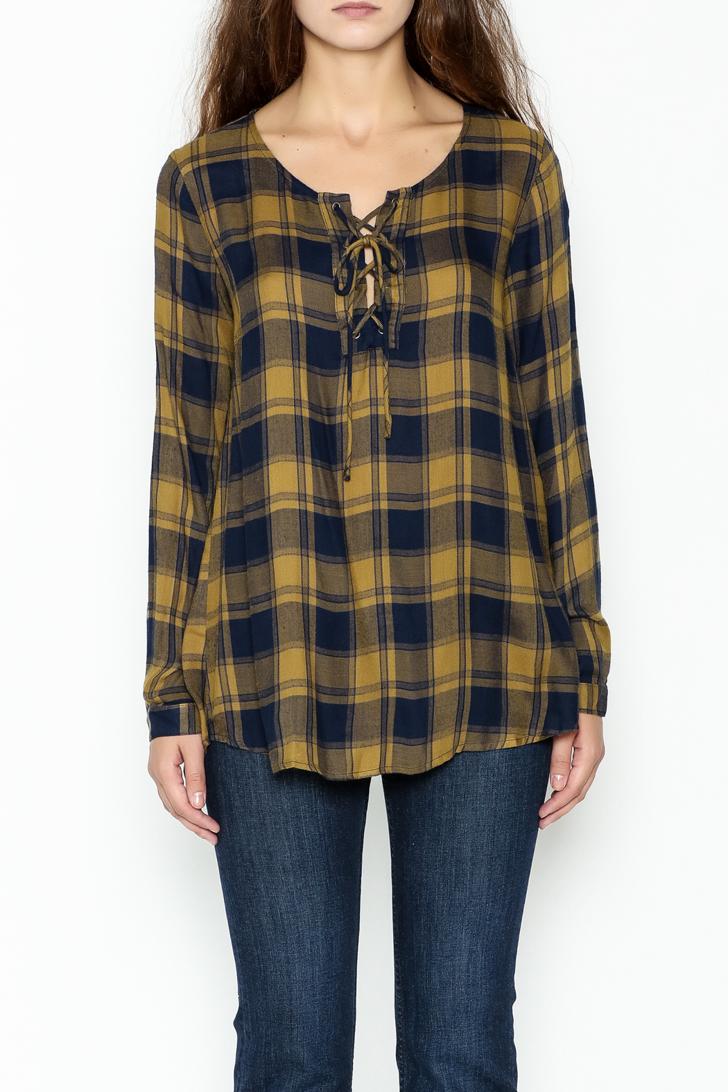Mystree Lace Up Plaid Top - Front Full Image