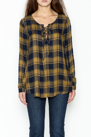 Mystree Lace Up Plaid Top - Front full body