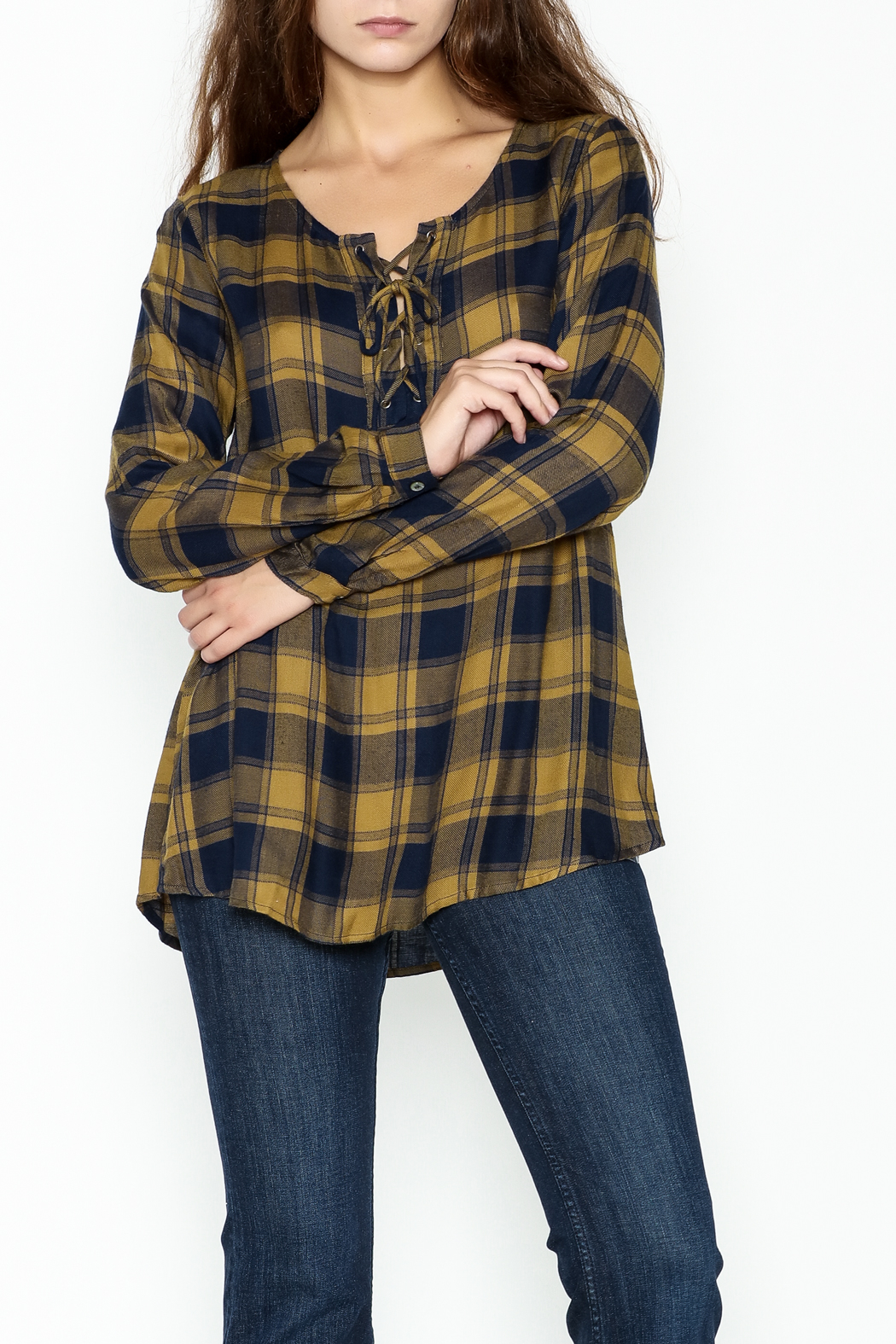 Mystree Lace Up Plaid Top - Main Image