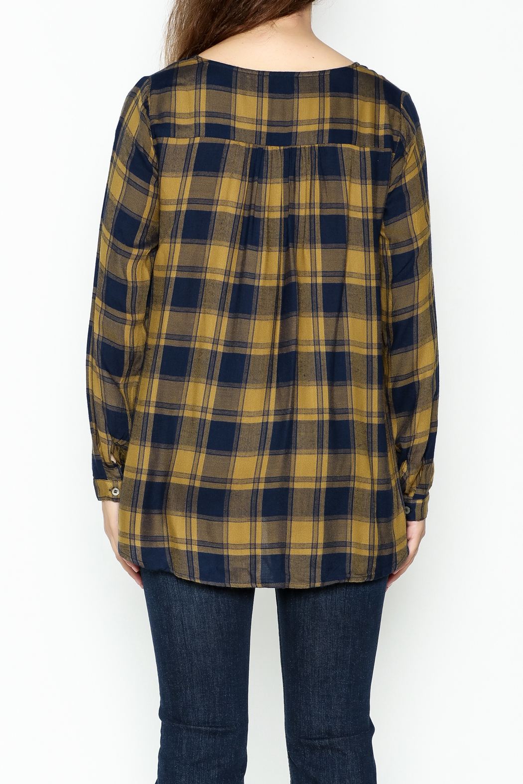 Mystree Lace Up Plaid Top - Back Cropped Image
