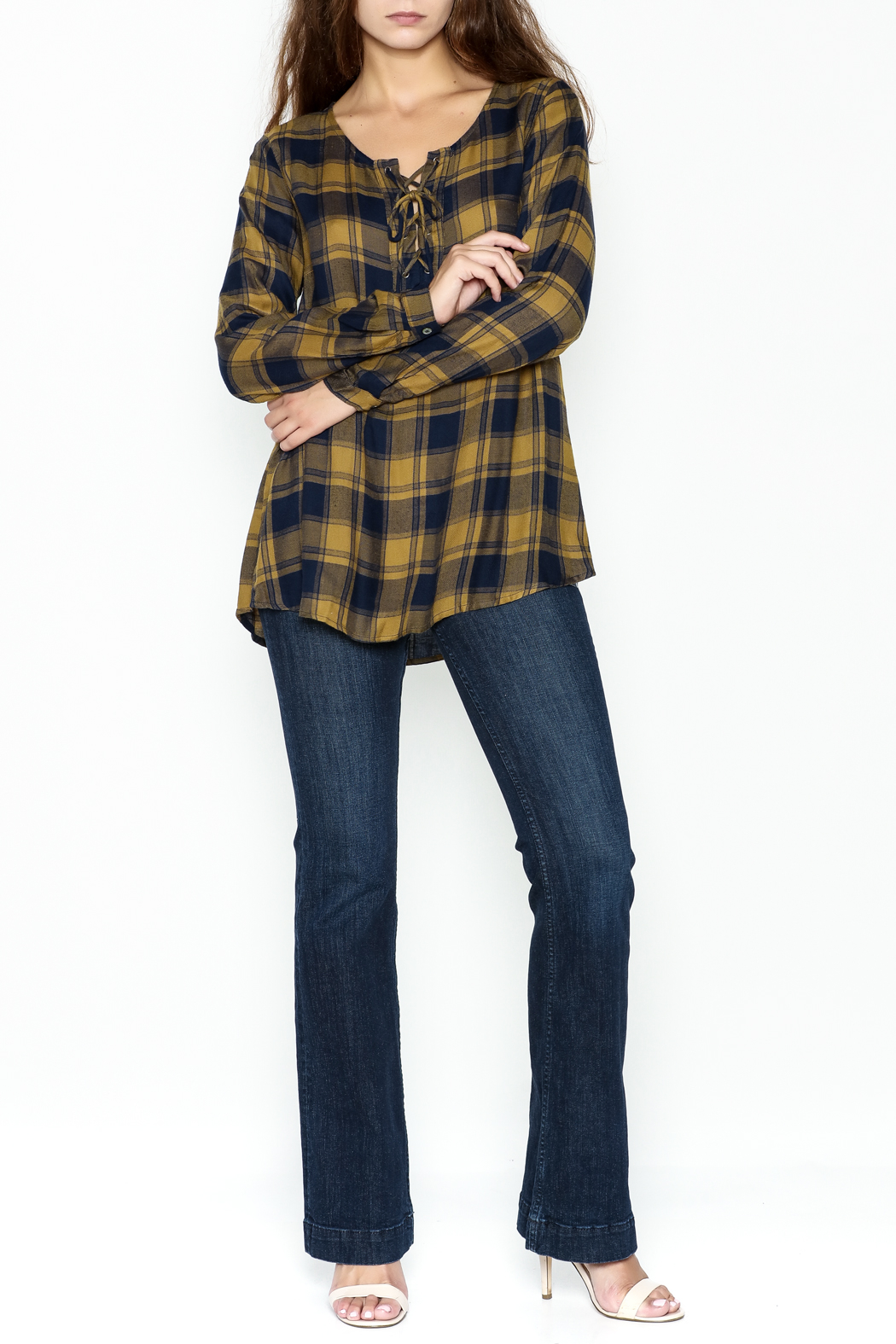 Mystree Lace Up Plaid Top - Side Cropped Image