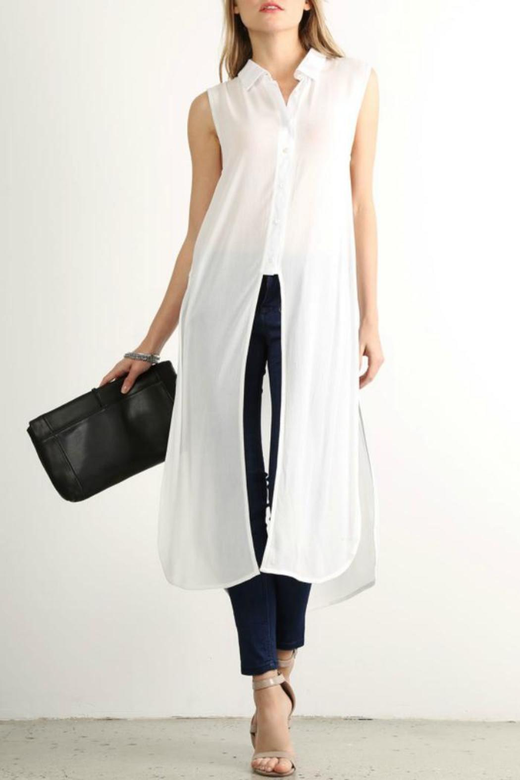 Mystree Long Shirt Dress - Front Cropped Image