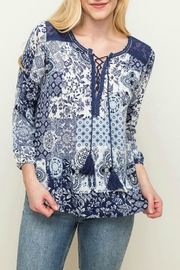 Mystree Navy Peasant Top - Product Mini Image