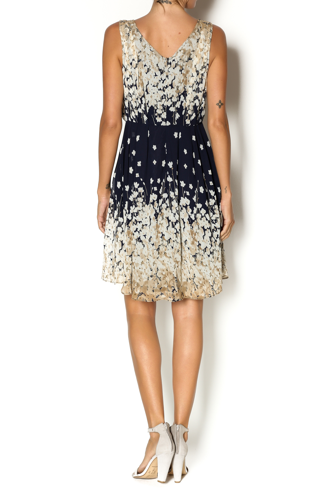 Mystree Navy Pintuck Dress - Side Cropped Image