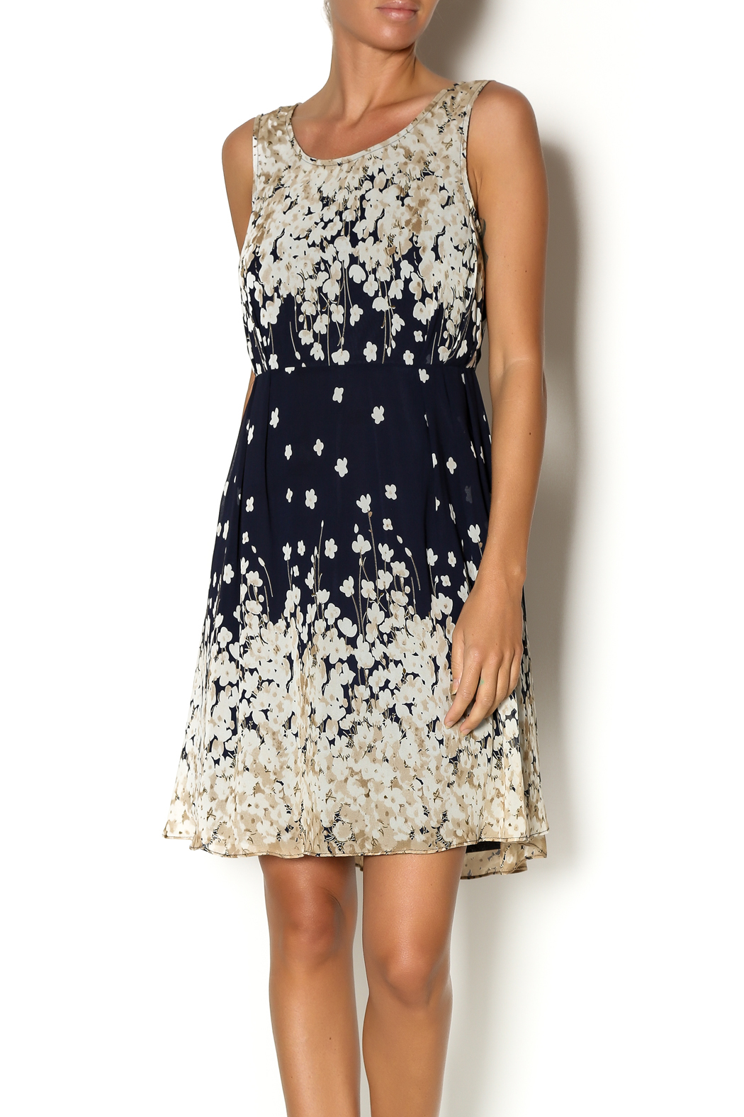 Mystree Navy Pintuck Dress - Front Cropped Image