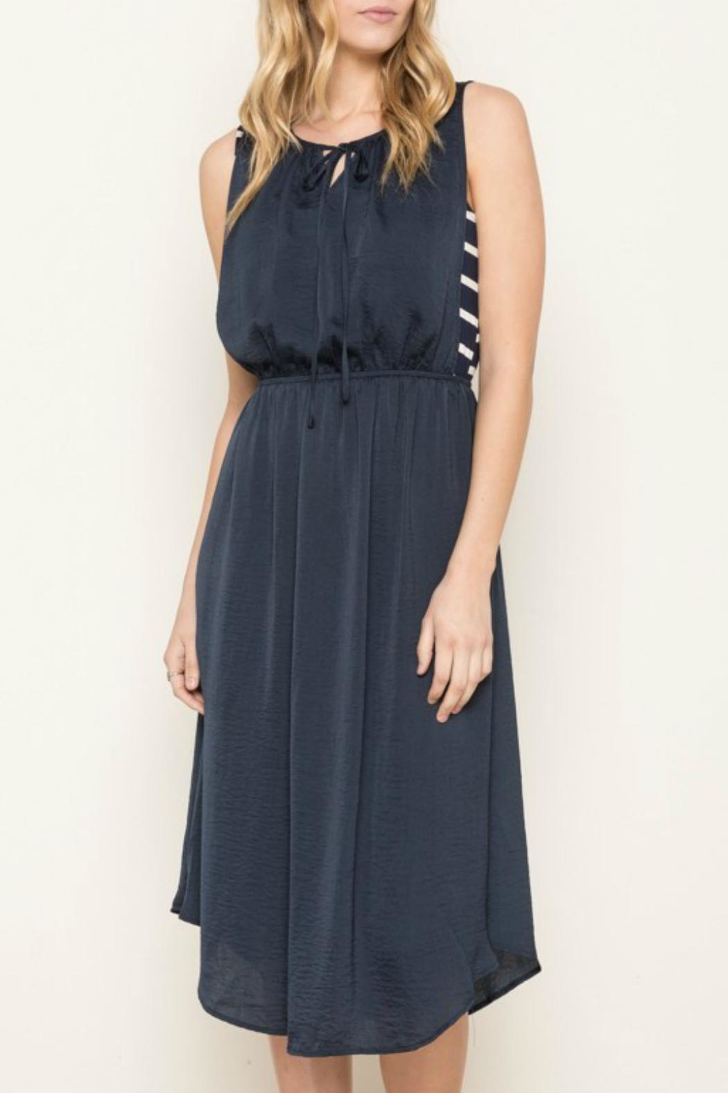 Mystree Navy Striped Dress - Front Full Image