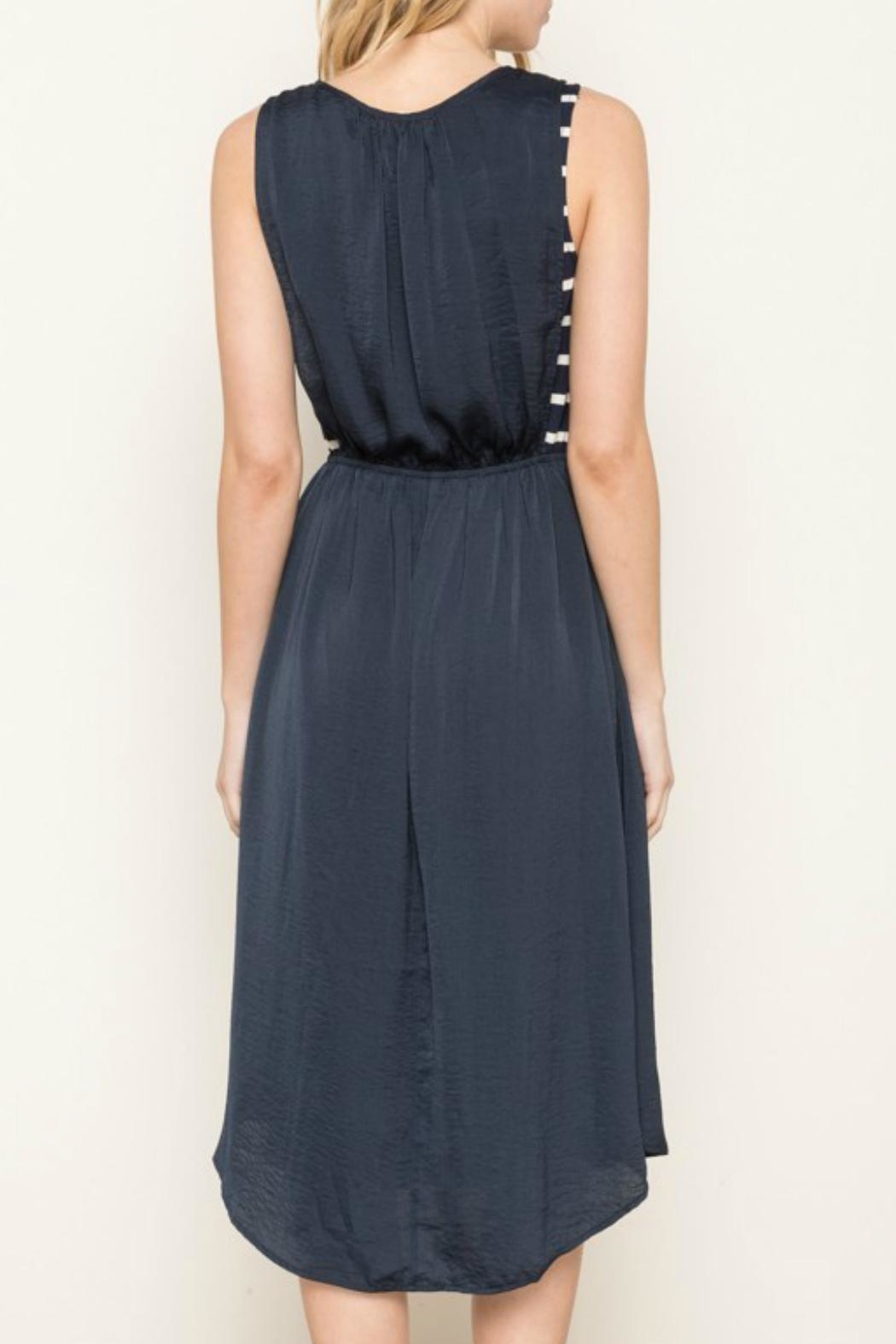 Mystree Navy Striped Dress - Side Cropped Image