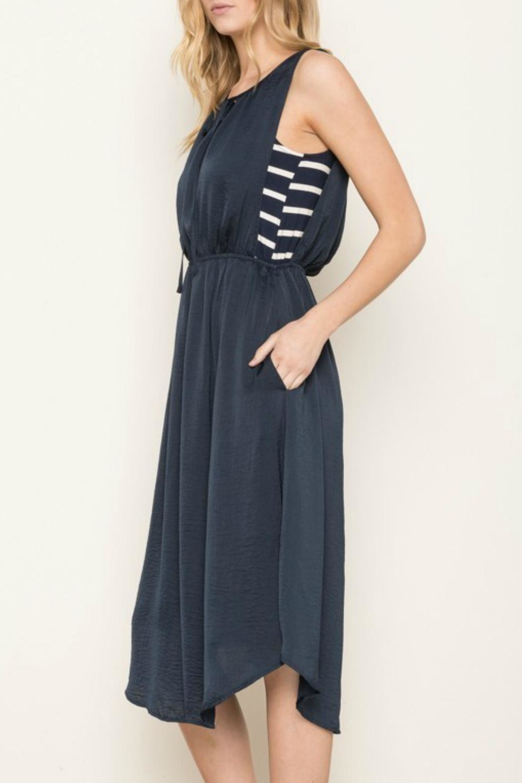 Mystree Navy Striped Dress - Back Cropped Image