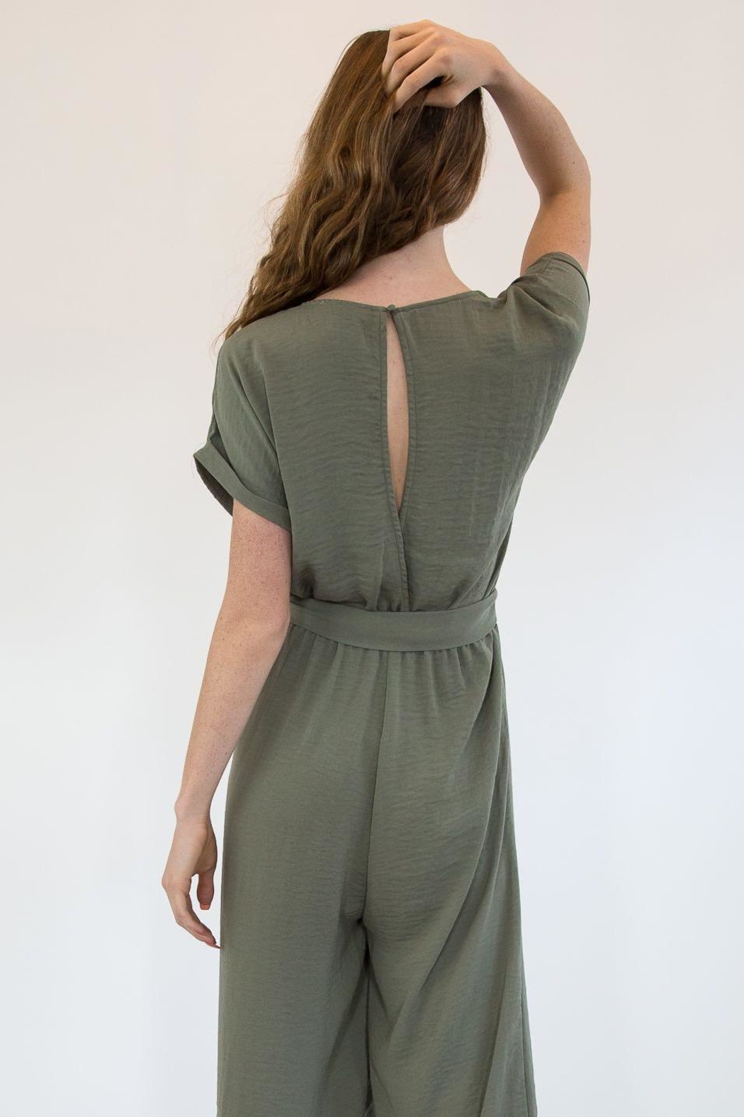 Mystree Olive Jumpsuite - Side Cropped Image