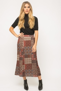 Mystree Patchwork Midi Skirt - Product List Image