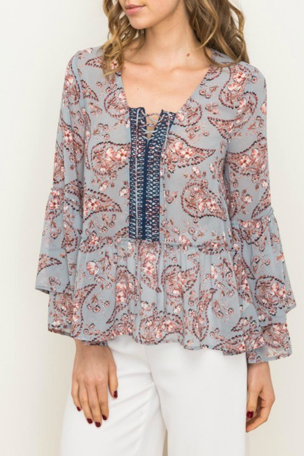 Mystree Peplum Blouse - Front Cropped Image