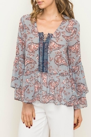 Mystree Peplum Blouse - Front cropped