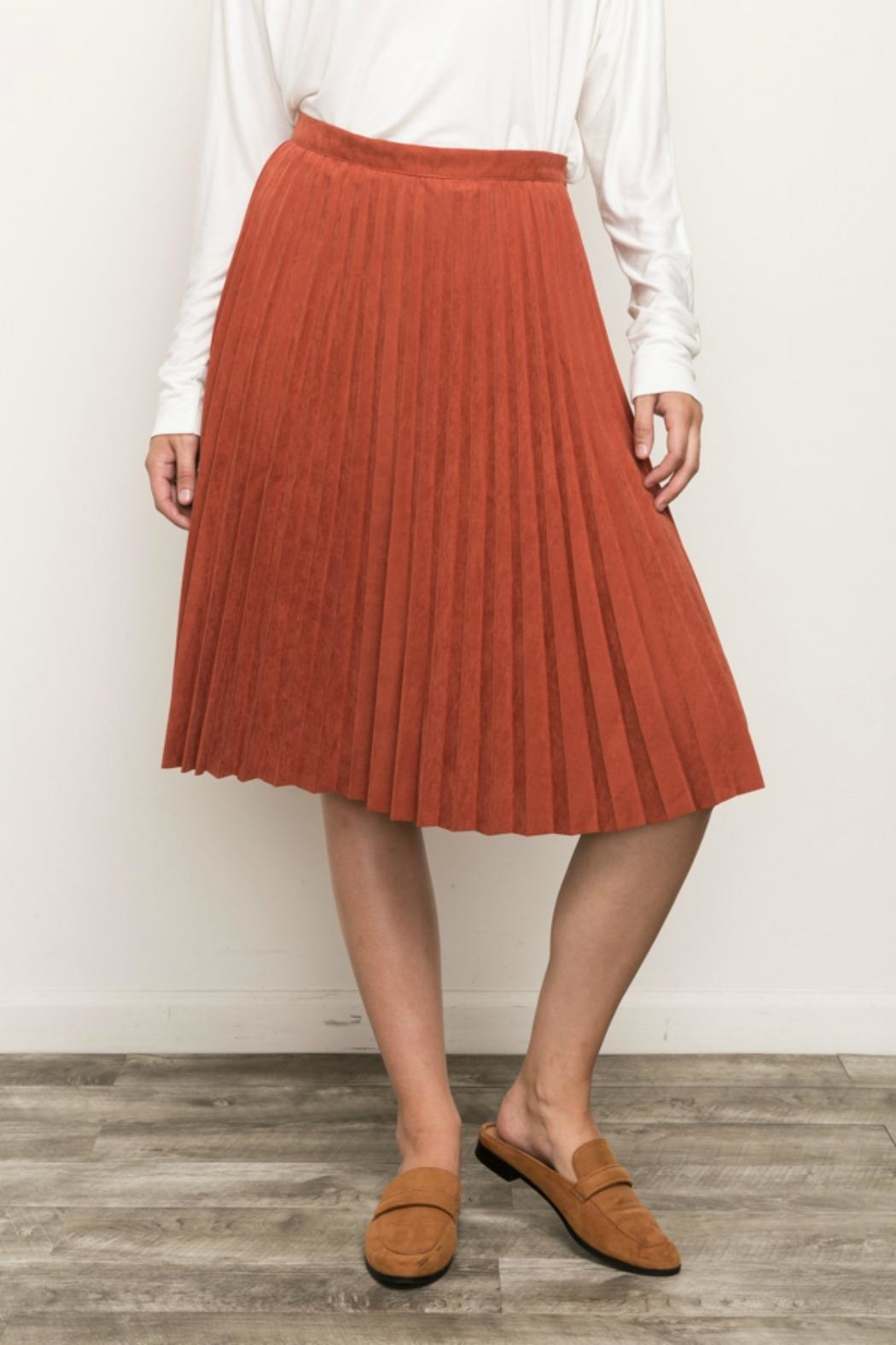 Mystree Pleated Suede Skirt - Main Image
