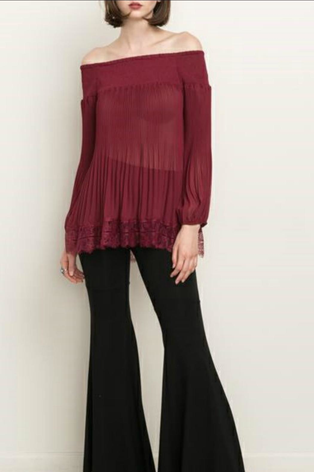 Mystree Pleated Wine Top - Front Cropped Image