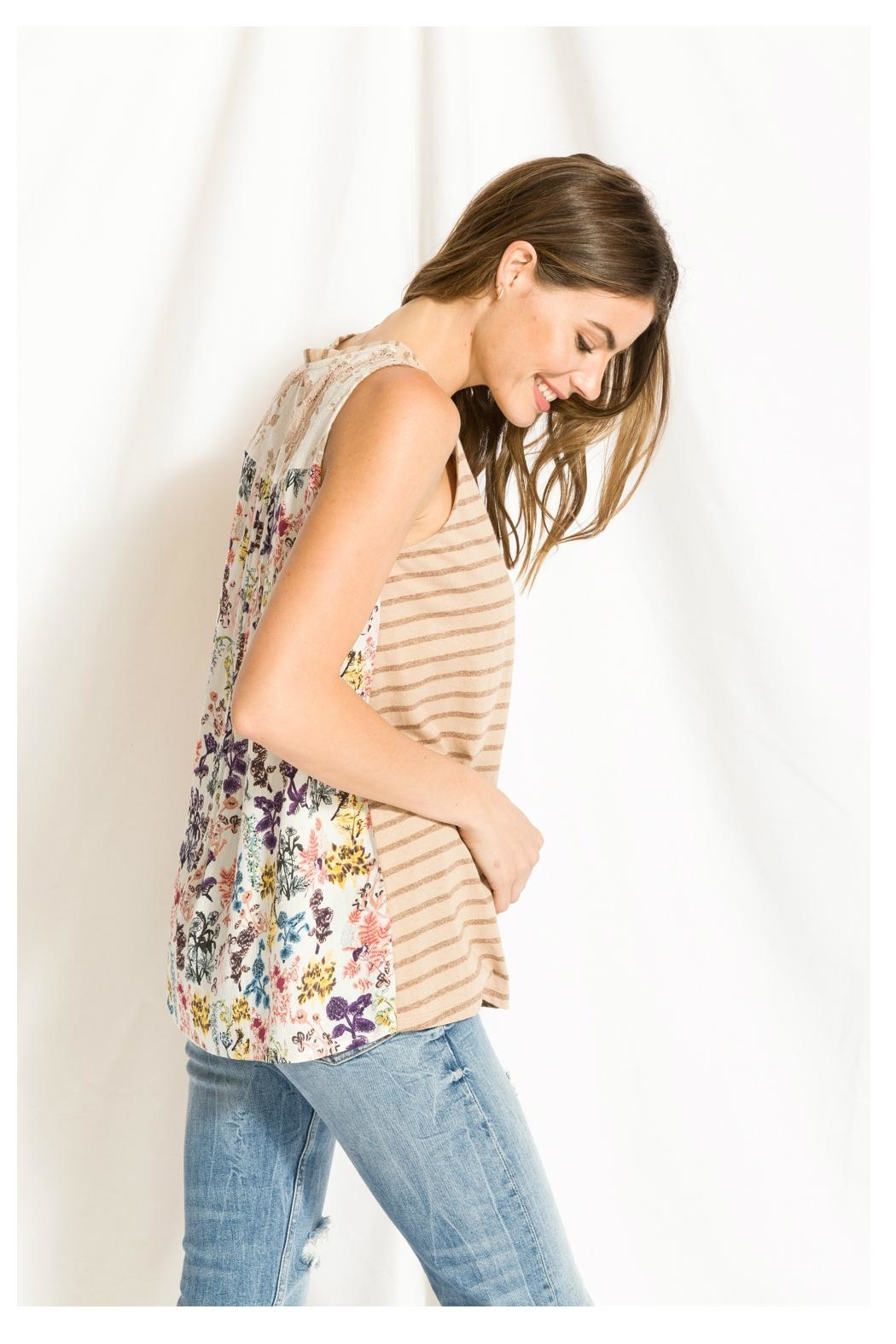 Mystree Print/lace Stripe Top - Side Cropped Image