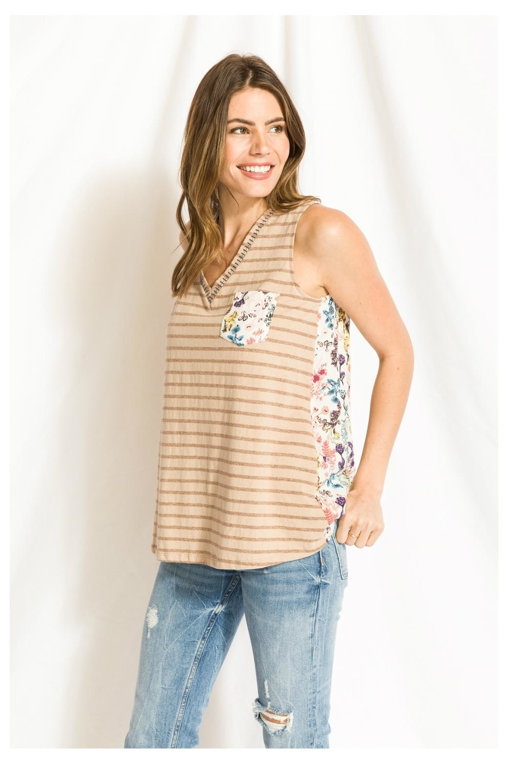 Mystree Print/lace Stripe Top - Front Full Image