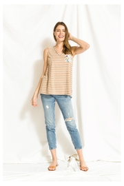 Mystree Print/lace Stripe Top - Front cropped