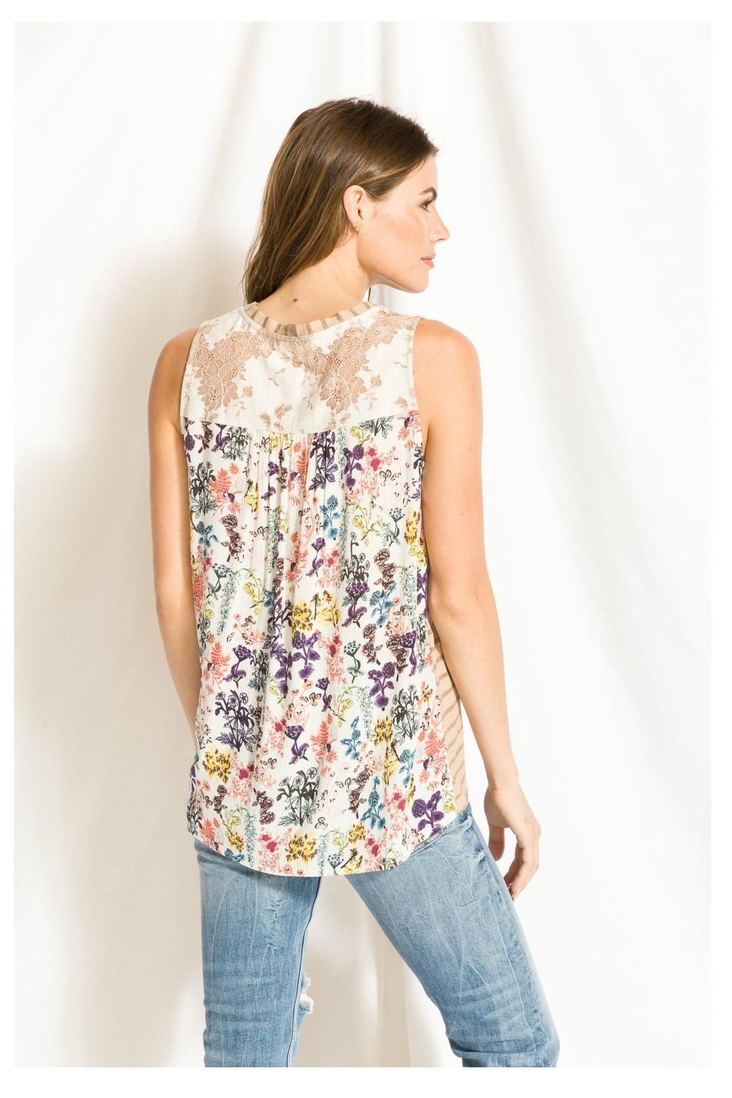 Mystree Print/lace Stripe Top - Back Cropped Image