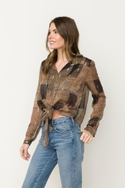 Mystree Printed Sheer Top - Front cropped
